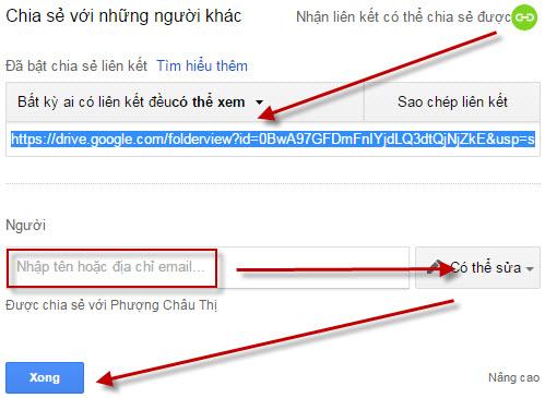 Chia sẻ tài liệu trên Google Drive