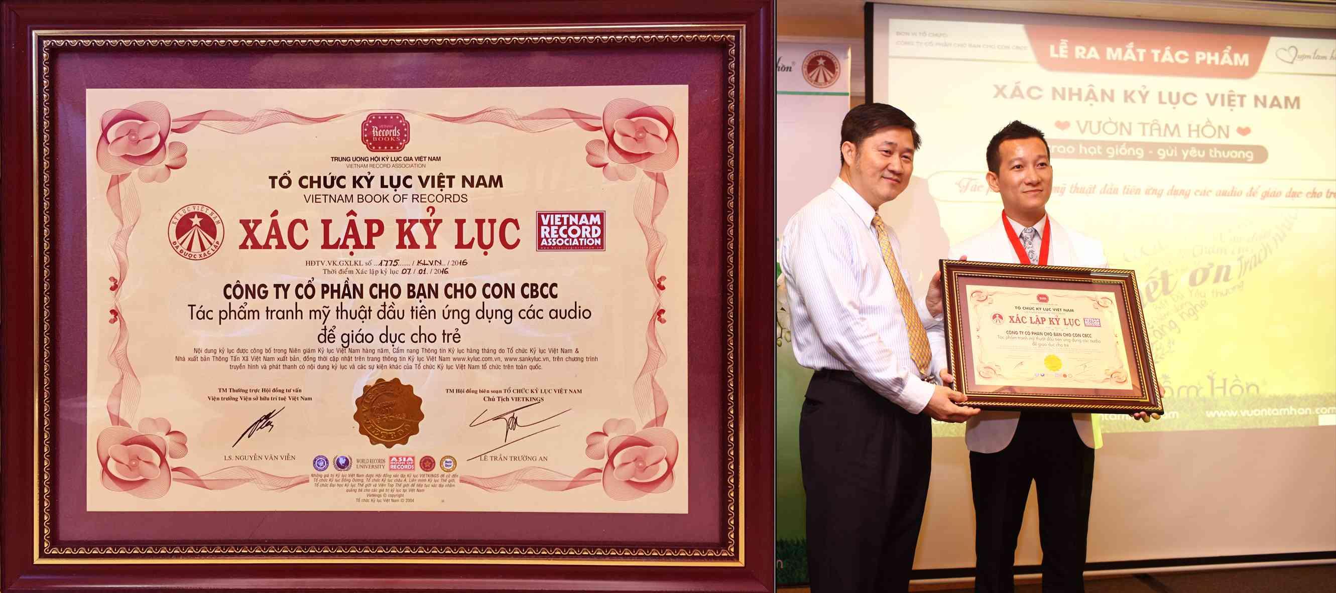 Anh Trần Quốc Phúc nhận Kỷ Lục Việt Nam cho tác phẩm Vườn Tâm Hồn