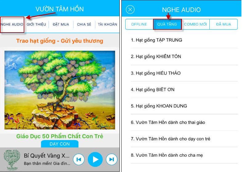 Quà tặng ứng dụng Vườn tâm hồn trên smartphone