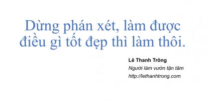 Lê Thanh Trông - Đừng phán xét
